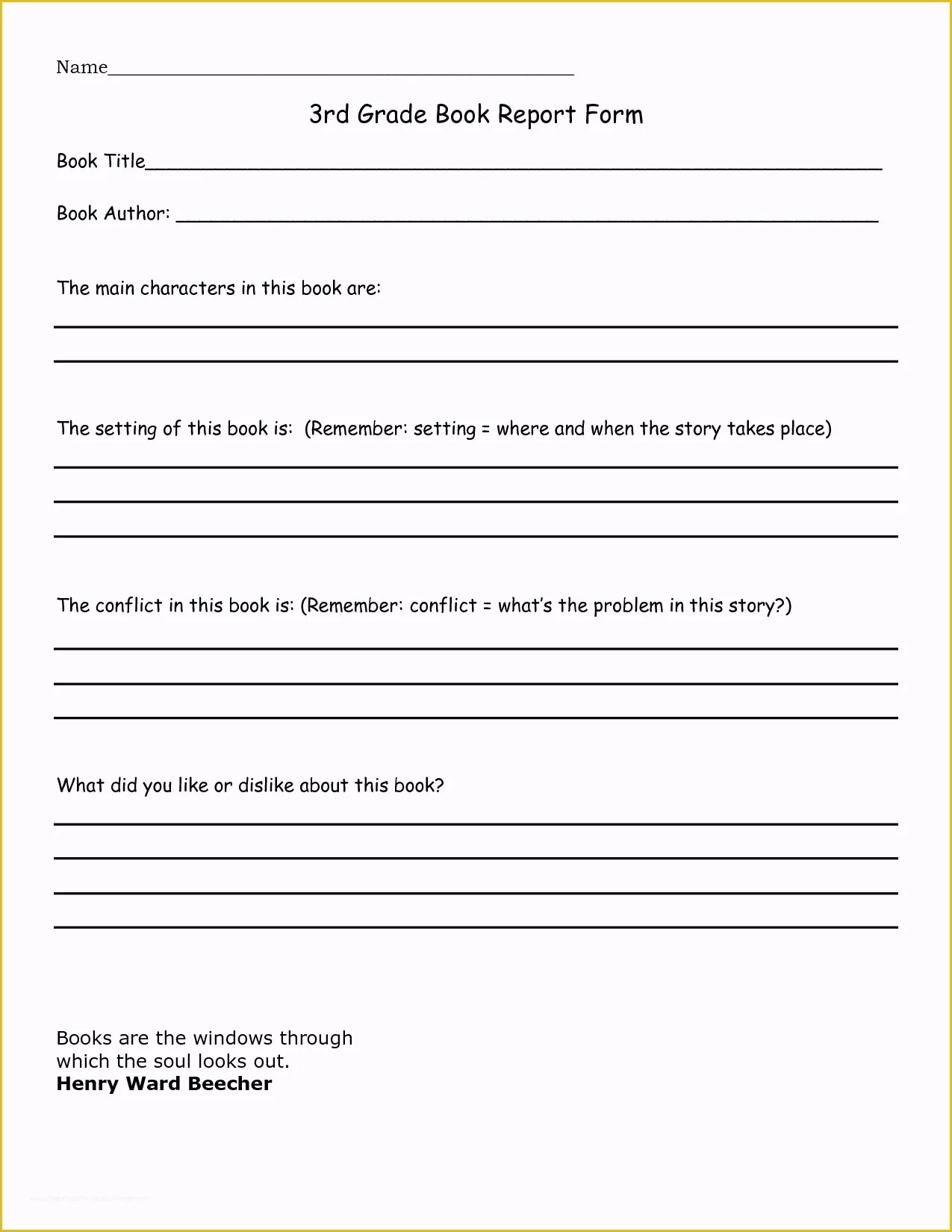2nd Grade Book Report Template Free Of 3rd Grade Book