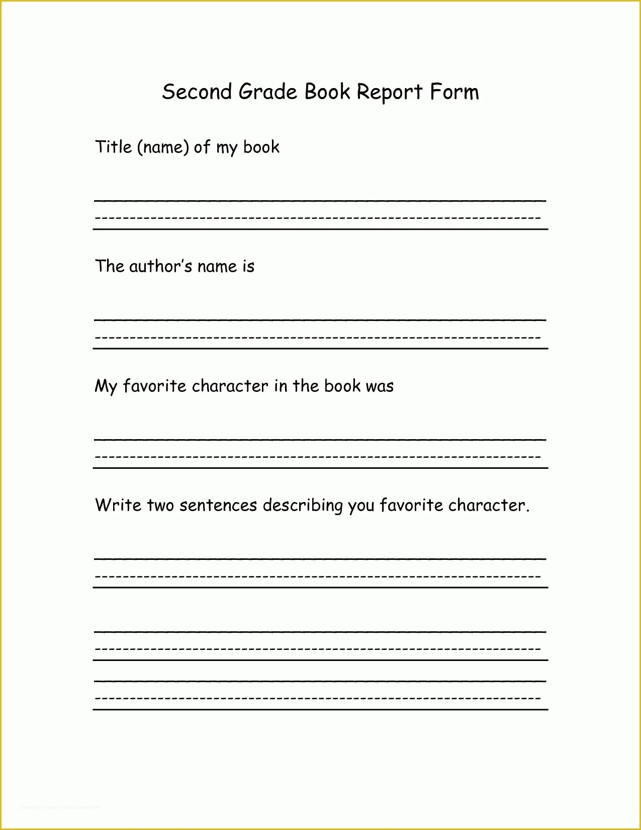 2nd Grade Book Report Template Free Of 8 Best Of 2nd Grade