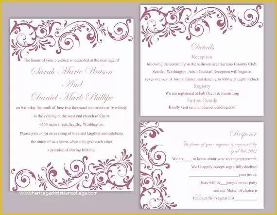 Editable Free Wedding Invitation Templates For Word