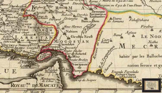 1724 Map of Mughistan (Mogostan) by Lisle Guillaume. Note 'Hauz Hormuz' near the centre of the image