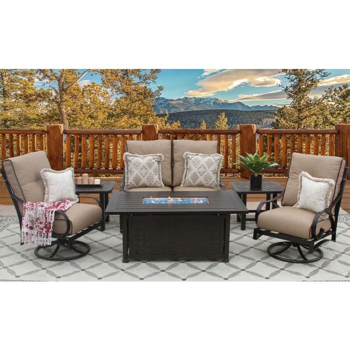 newport aluminum outdoor patio 6pc loveseat 2 club swivel rockers 2 end tables 34x58 rectangle firepit series 4000 with sesame linen cushion