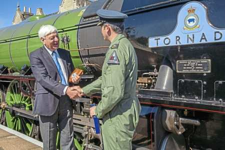 The A1 Steam Locomotive Trust's president David Champion with RAF Marham station commander, Group Captain Rich Davies, at the affiliation ceremony at Wansford. A1SLT