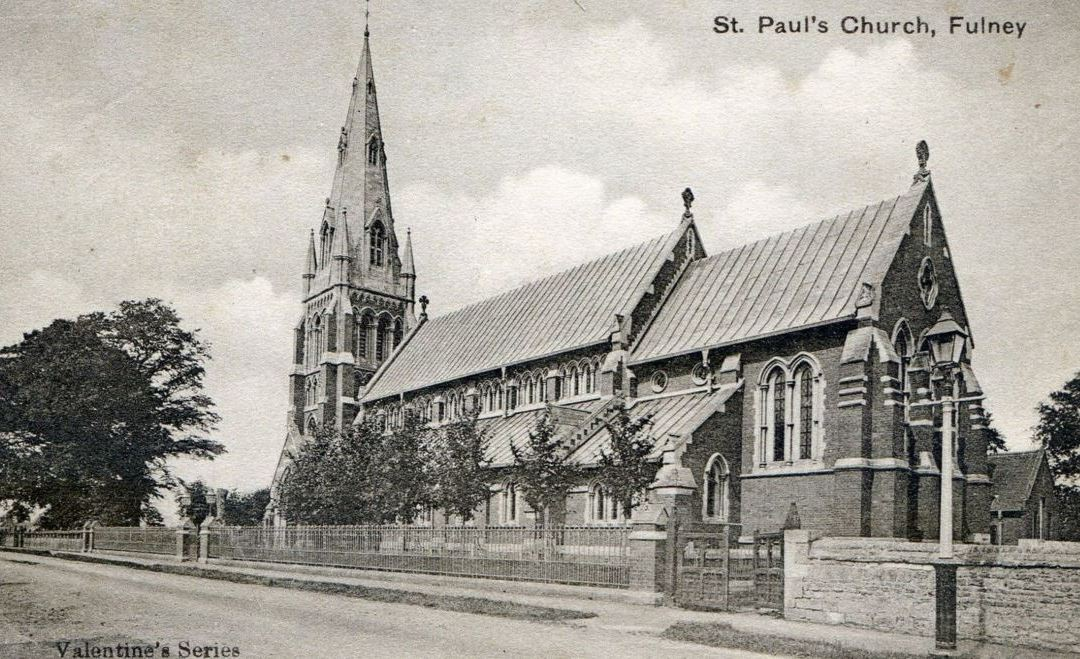 Postcard of St Paul's Church,Fulney. Dated around 1900