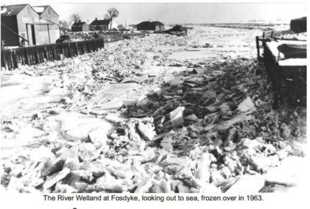 Frozen River Welland at Fosdyke  in 1963