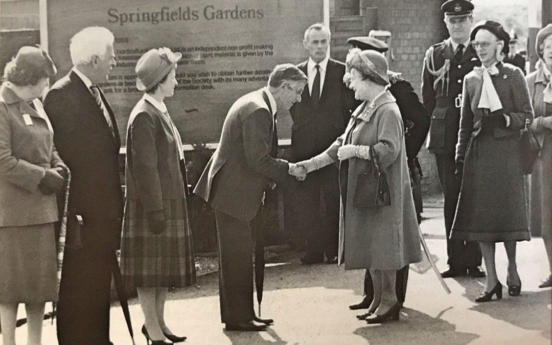 Queen Mother opening Springfields Gardens in 1986