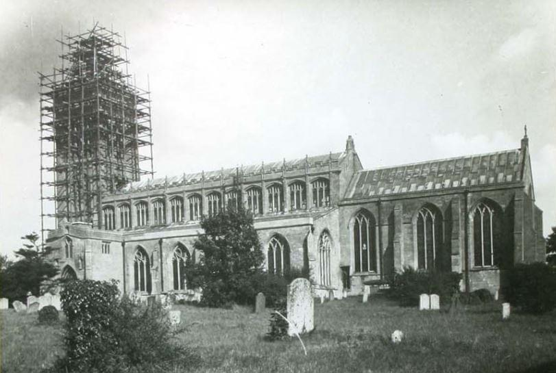 Believed to be the 1930's and repairs being carried out on Gedney Church
