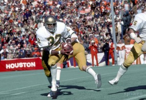 Notre Dame Irish running back # 32 Vagas Ferguson in action during the 1978 Cotton Bowl against the Texas Longhorns, photo: US Presswire.