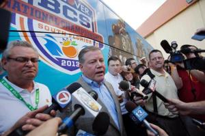 Notre Dame head coach Brian Kelly addresses the media prior to Monday night's national title game. Photo: Alan Diaz/AP