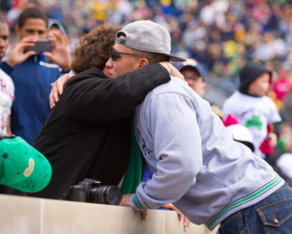 This says it all ... Notre Dame is family. (Photo Credit: Matt Cashore)