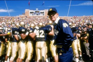 Notre Dame coach Lou Holtz led the 1988 Fighting Irish to a 12-0 record. Getty Images