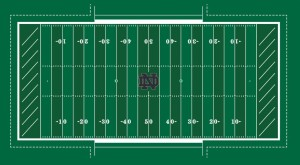 A full 100-yard view of the new Notre Dame FieldTurf design. Photo credit: UND.com