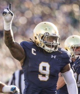 Notre Dame's Jaylon Smith (9) celebrates after recovering a fumble during the Notre Dame-Navy football game on Saturday, Oct. 10, 2015. SBT Photo/ROBERT FRANKLIN