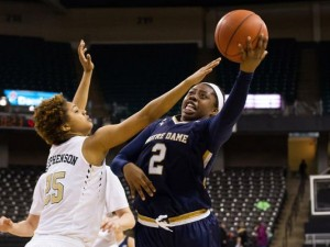 Notre Dame Fighting Irish guard Arike Ogunbowale (2) shoots the ball around Wake Forest Demon Deacons guard Ariel Stephenson (25) in the second half at Lawrence Joel Veterans Memorial Coliseum. Notre Dame defeated Wake Forest 86-52. (Jeremy Brevard-USA TODAY Sports)