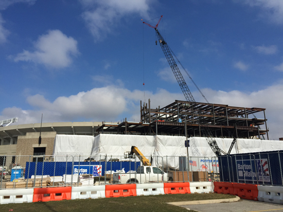 ND Stadium Construction (South End Zone), 2/22/2016. Photos by Lisa Kelly