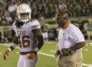 Texas linebacker Malik Jefferson and head coach Charlie Strong