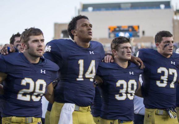 Notre Dame Quarterback DeShone Kizer and his teammates sing the alma mater after the Sept. 24, 2016 Duke game. (Photo: South Bend Tribune, Robert Franklin)