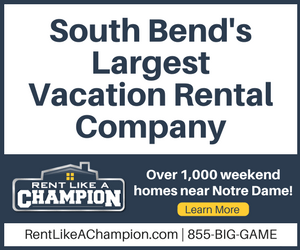 Use HLS50 for fifty dollars off your Notre Dame football house courtesy of Rent Like a Champion