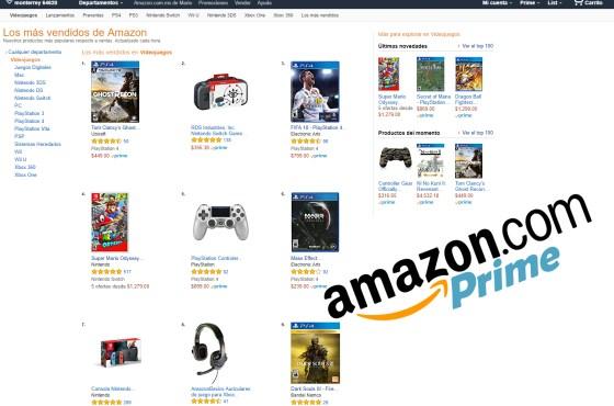 Los 10 Videojuegos mas vendidos de Amazon Mexico