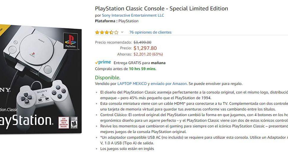 Playstation Classic de Amazon Mexico Rebajado.
