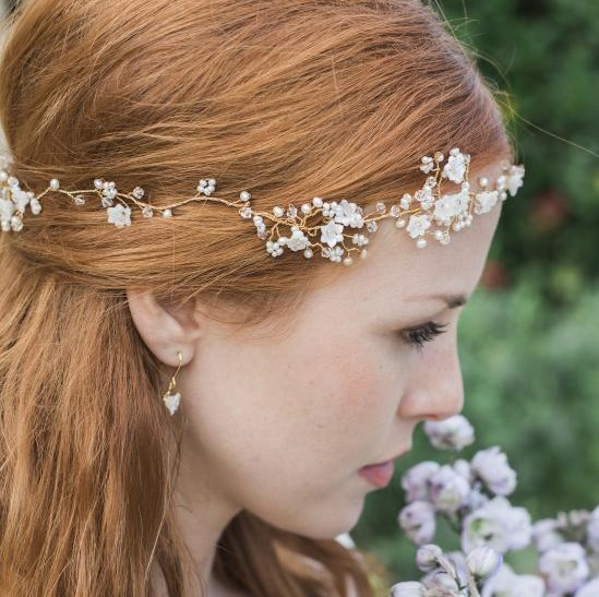image of flower pearl and crystal hair garland click to view
