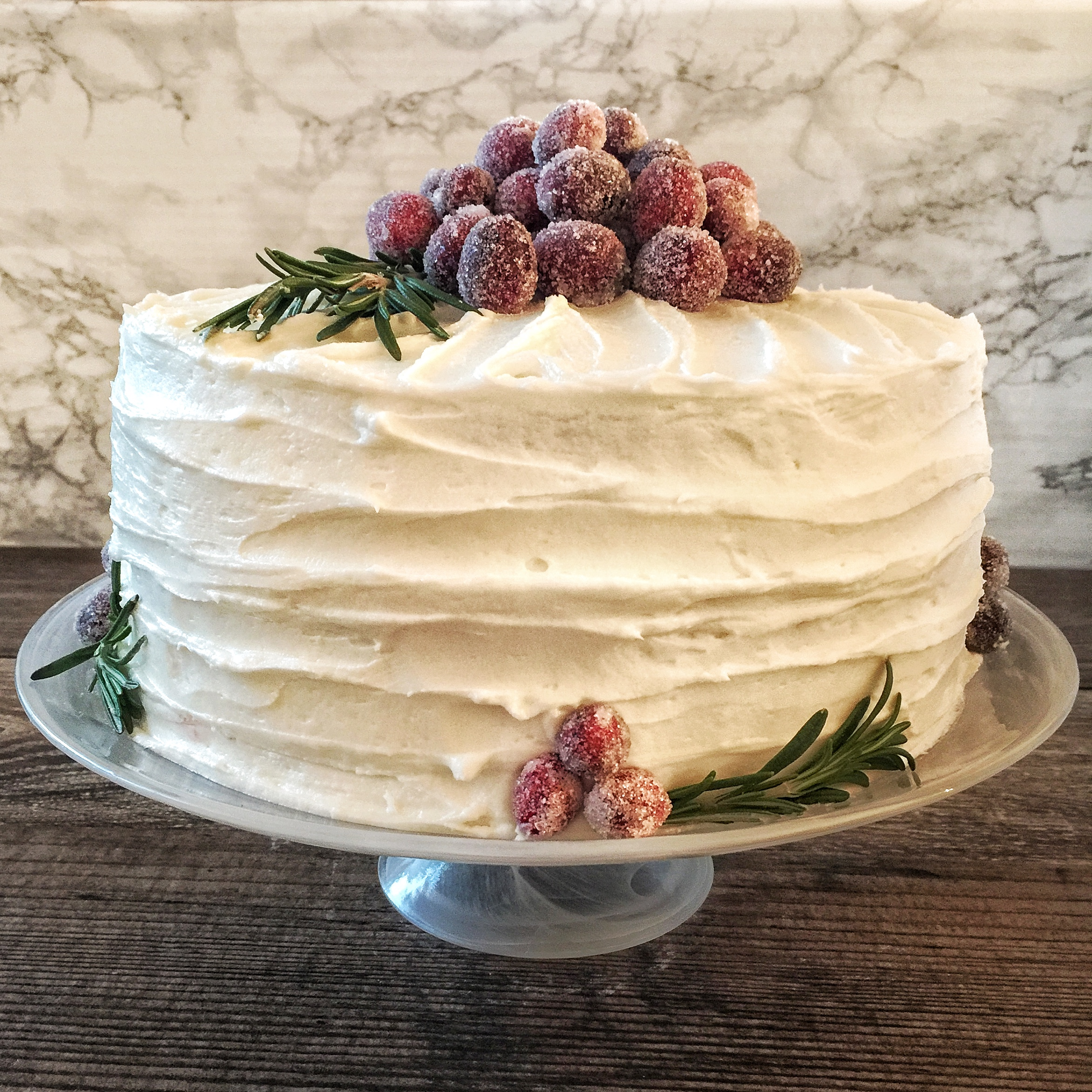 Festive Italian Cream Cake with Cranberry Curd & Sugared Cranberries