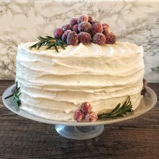 Italian Cream Cake with Cranberry Curd