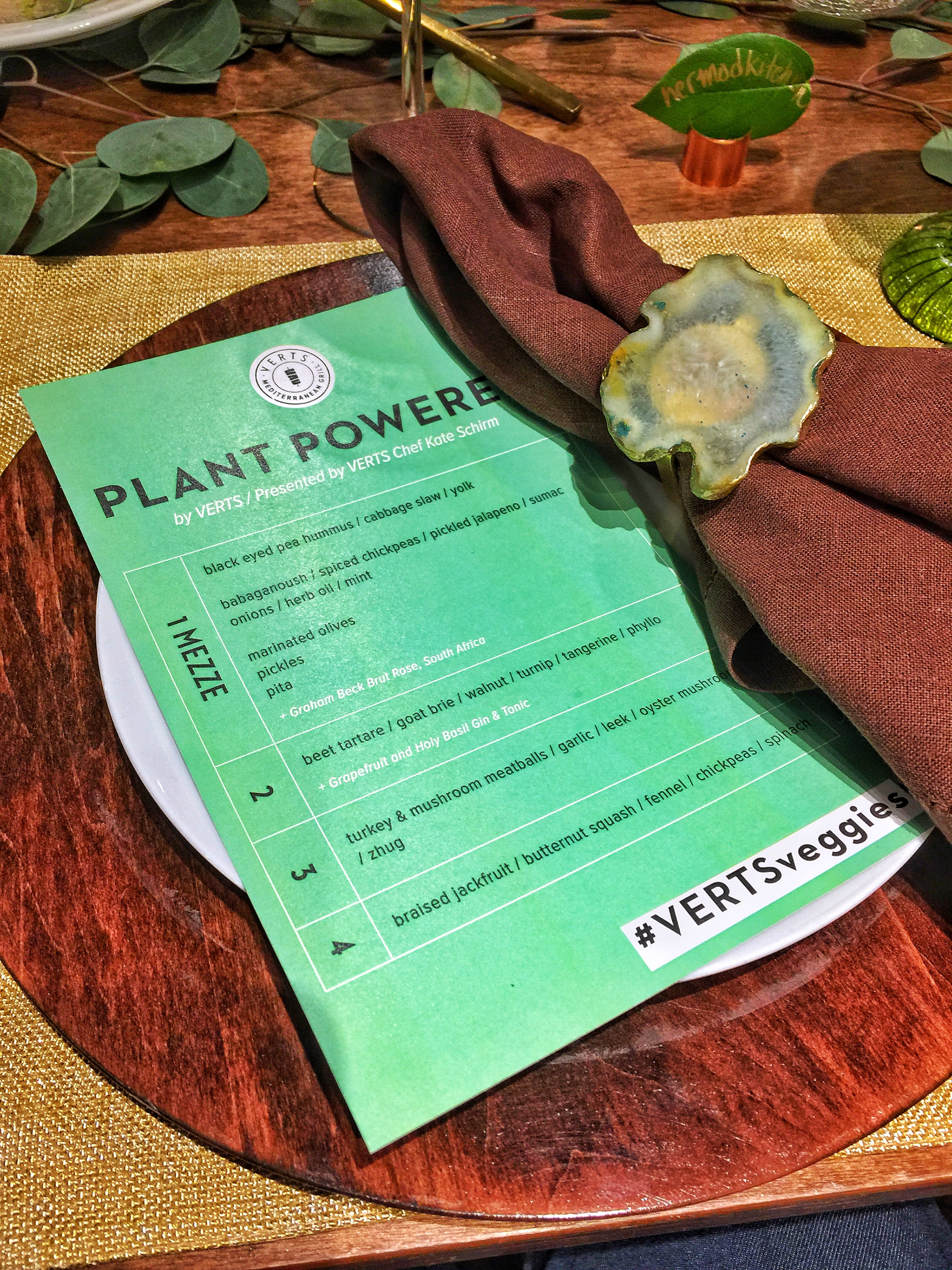 Vert's Mediterranean Plant-Powered Menu