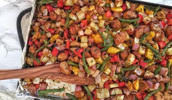 Weeknight Chicken Sausage & Veggie Sheet Pan Dinner