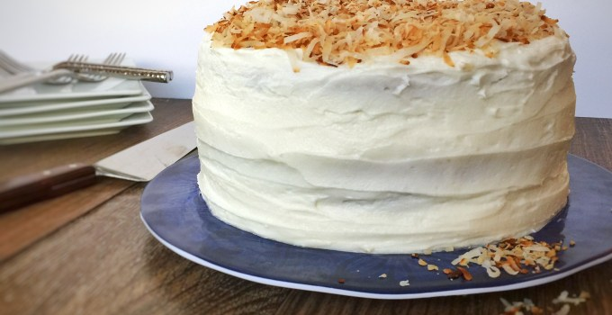 Springtime Coconut & Lime Curd Layer Cake featuring Zenker Cake Slicer