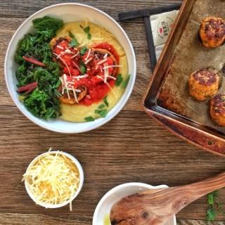Zesty Chicken Meatballs with Creamy Polenta