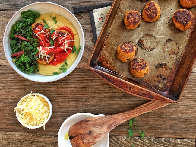 Zesty Chicken Meatballs with Creamy Polenta