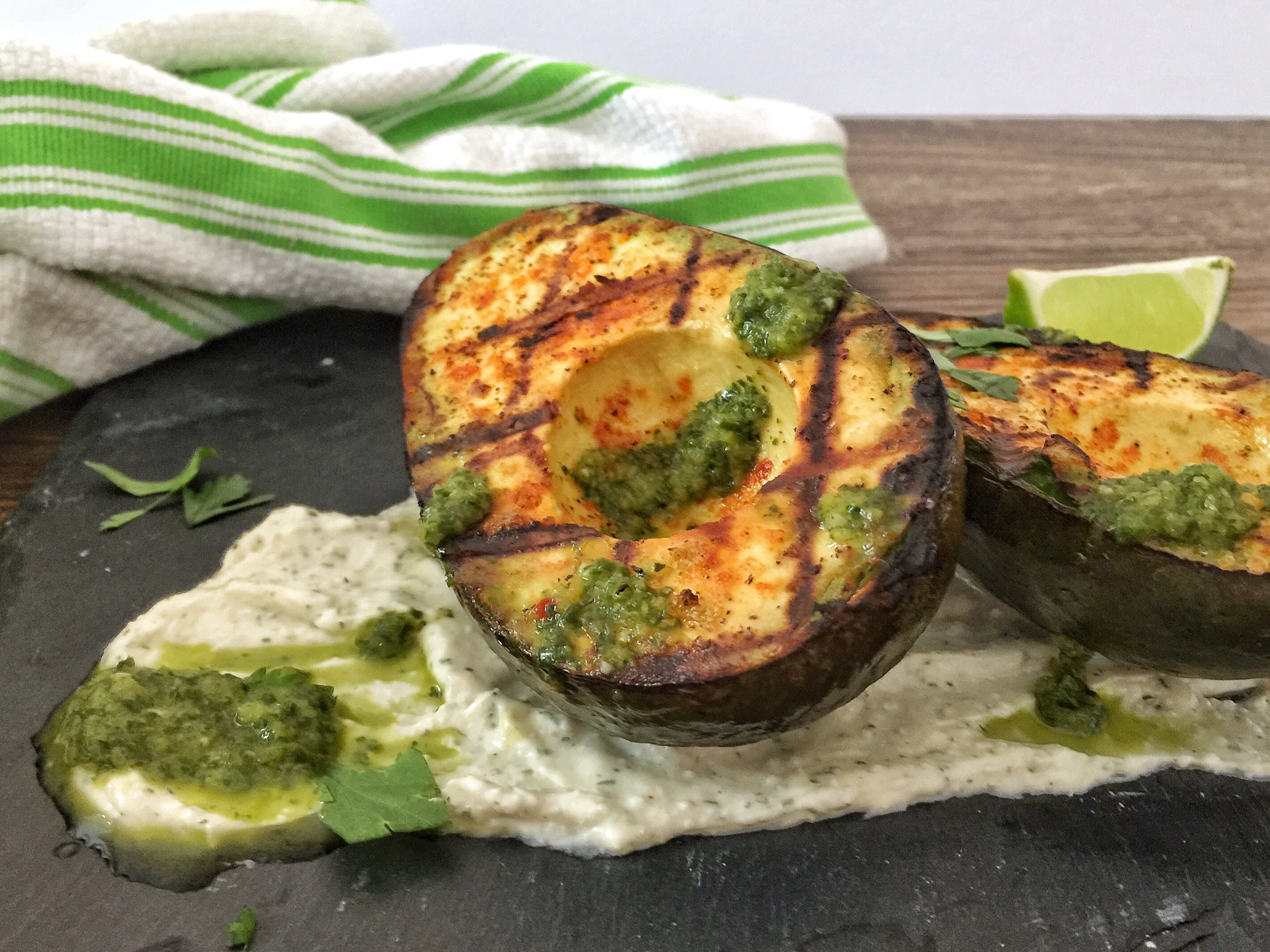 Grilled Avocado with Goat Cheese