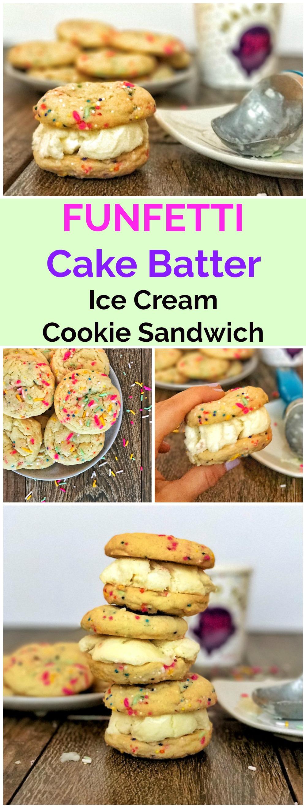 Funfetti Cake Batter Ice Cream Cookie Sandwiches Pin