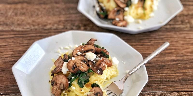 Mushrooms and Creamy Parmesan Spaghetti Squash