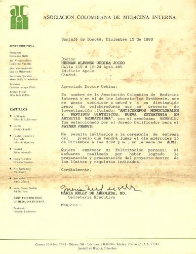 Premio Nacional de Medicina, Hernán Urbina Joiro, 1993