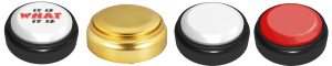 4 Different custom easy buttons, one with a top logo and the rest without