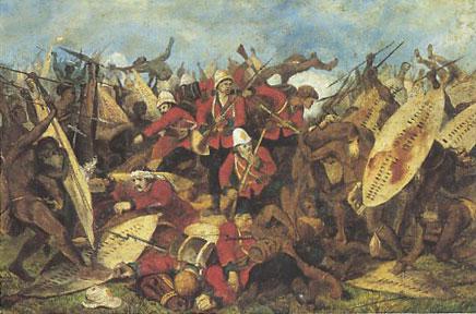 La bataille d'Isandhlwana, d'après une gravure de l'époque