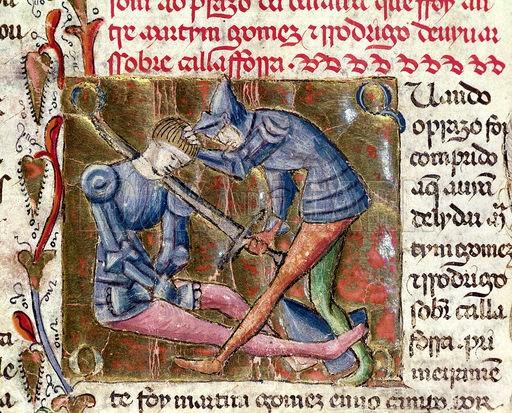 Bataille entre Martin Gomez et le Cid, tirée des Chroniques d'Espagne (1344 - Academia das Ciencias de Lisboa, Lisbonne)