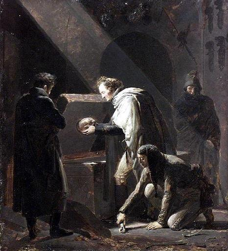 Alexandre Evariste Fragonard, Vivant Denon replaçant dans leur tombeau les restes du Cid et de Chimène - XIXe s. (Saint-Quentin ; musée Antoine Lécuyer)