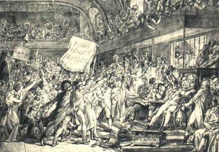 La famille royale réfugiée à l'Assemblée (gravure d'époque)