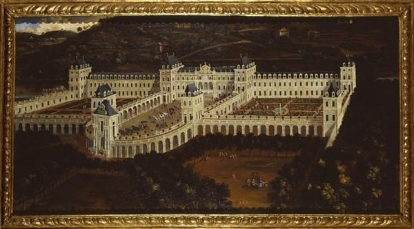 Place du Château en 1619 lors de l'arrivée de la régente Christine de France à Turin, Antonio Tempesta, 1620. L'agrandissement montre une Vue de la place Castello depuis le théâtre Sabaudiae, 1674, © Archives historiques de la ville de Turin, DR.