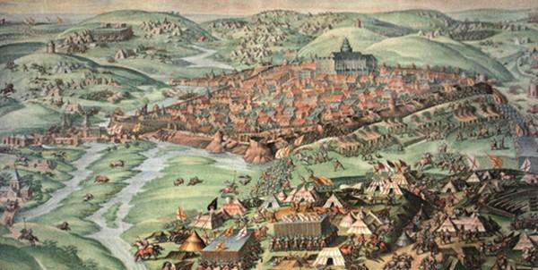 La prise de Saint Quentin, 1590, Fabrizio Castella, Madrid, Salle des Batailles du Palais de l'Escurial. L'agrandissement montre La bataille de Saint-Quentin peinte par Luca Giordano, XVIIe siècle.