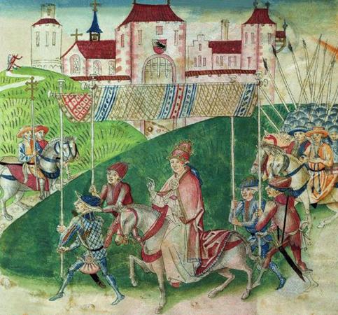 Arrivée à Berne le 18 juin 1440 d'Amédée VIII, décrite en 1483 dans l'Amtliche Berner Chronik de Diebold Schilling, XVe siècle. L'agrandissement montre Amédée VIII, élu pape par le concile de Bâle en 1439, se rend dans cette ville pour son intronisation le 24 juillet 1440.
