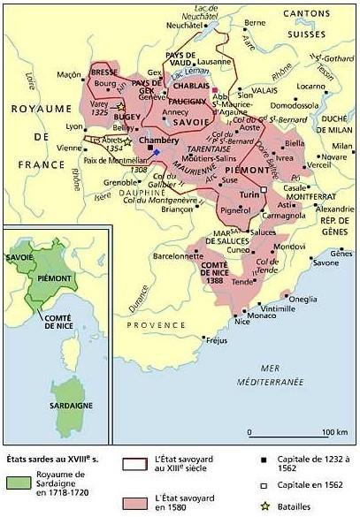 Les États de la maison de Savoie (source : faidp.com/perso)