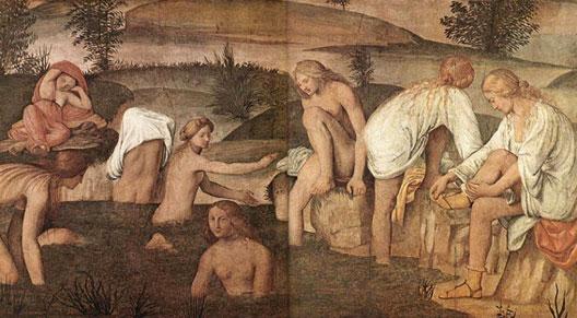 Bernardino Luini, Jeunes filles au bain, XVIe s., fresque de la Villa Rabia alla Pelucca, Milan