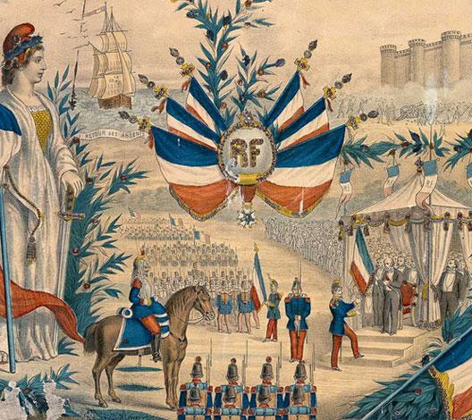 Lithographie évoquant la revue de Longchamp du 14 juillet 1880 (Centre historique des Archives nationales)