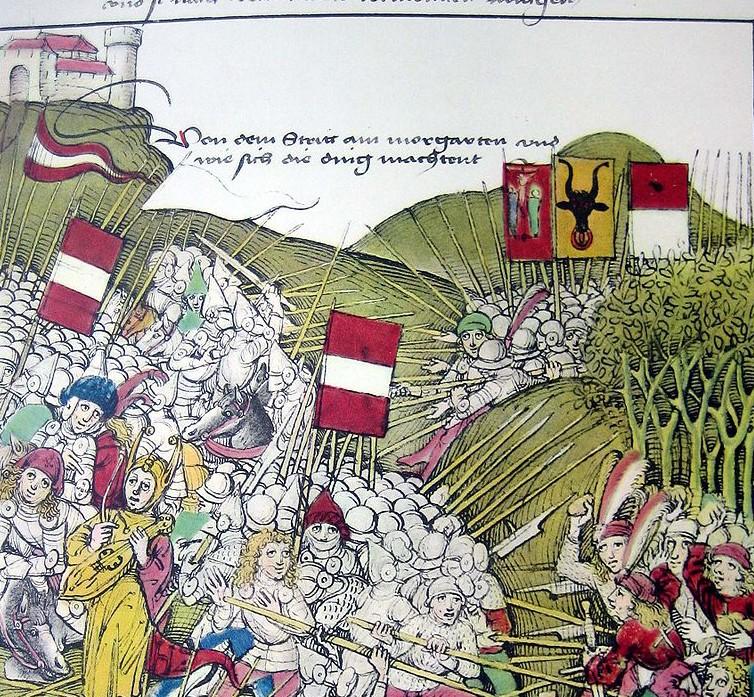 Bataille de Morgarten, 15 novembre 1315 - Grande chronique des guerres de Bourgogne, Diebold Schilling le Vieux, XVe siècle