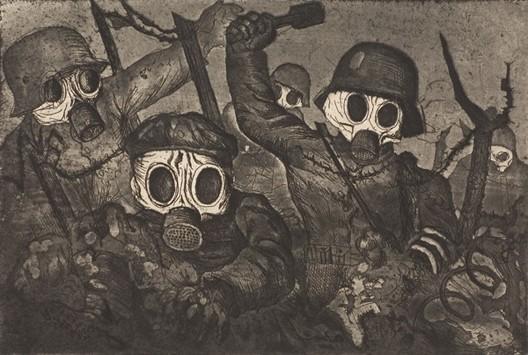 Assaut sous le gaz (Otto Dix, gravure, 1924)