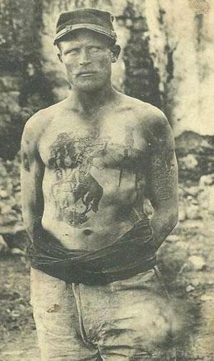 Spécimen de tatouage, Légionnaire, éd. Boussuge (Maroc), vers 1900