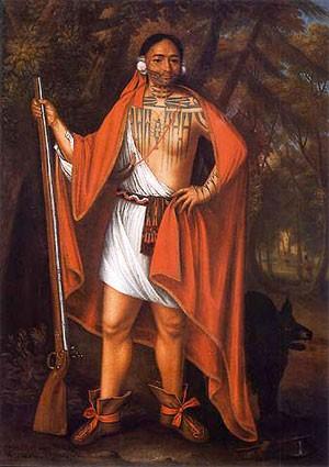 John Verelst, Portrait du chef iroquois Sa Ga Yeath Qua Pieth Tow (baptisé Brant), 1710, Ottawa, Archives publiques du Canada